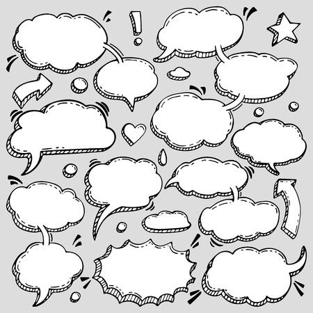 Ein paar Äußerungen Vector Speech Bubbles Set. Sammlung von Hand gezeichneten Design-Elemente für Ihr Blog, Social-Network-Beiträge. Einfach, Fotocollage, Anzeige, Zitatentwurf zu bilden. Standard-Bild - 83363072