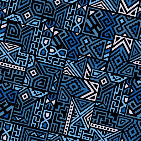 創造的なエスニック スタイルの正方形のシームレスなパターン。ユニークな幾何学的なベクトルの色見本。画面の背景やサイト背景、包装紙、壁紙