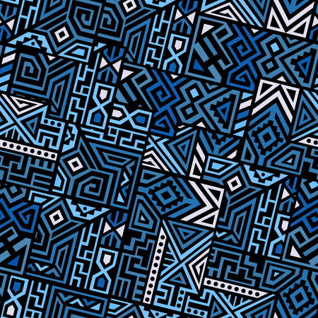 Creative Ethnic Style Square Seamless Pattern. Unique geometric vector swatch. Perfect for screen background, site backdrop, wrapping paper, wallpaper, textile and surface design. Trendy boho tile. Фото со стока - 85652583