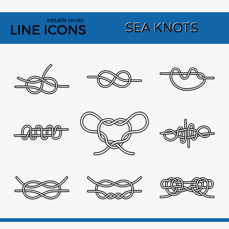 Vector Icons of Sea Knot Collection. Editable stroke design elements for seafood restaurant menu. Set of logotypes templates for climbing, rope access, yacht club and insurance firm. Illustration