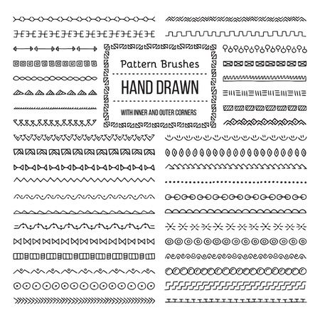 Set of Vector Pattern Brushes with Outer and Inner Corner Tiles. Easy color change. Perfect to create borders, frames, dividers. Hand drawn design elements. Çizim