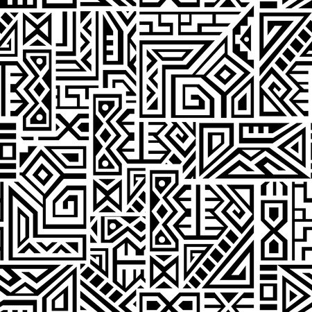 Creative Ethnic Square Seamless Pattern. Unique geometric vector swatch. Perfect for screen , site backdrop, wrapping paper, wallpaper, textile and surface design. Trendy boho tile. Çizim