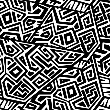 Creative Ethnic Style Square Seamless Pattern. Unique geometric vector swatch. Perfect for screen background, site backdrop, wrapping paper, wallpaper, textile and surface design. Trendy boho tile. Vector Illustration