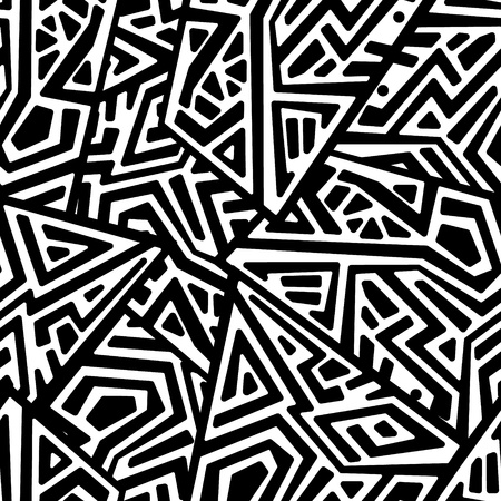 Creative ethnic style square seamless pattern. Unique geometric vector swatch. Perfect for screen background, site backdrop, wrapping paper, wallpaper, textile and surface design. Trendy boho tile. Vectores