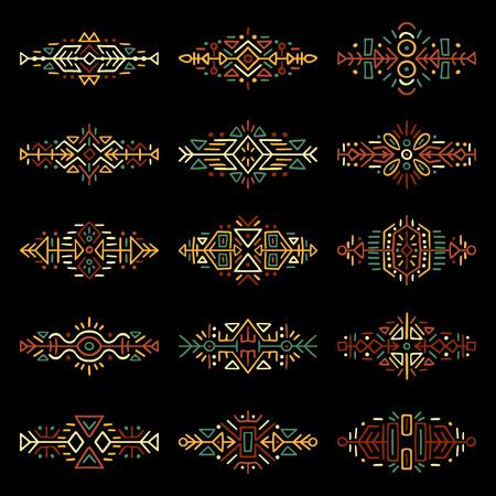 collection de frontières dessinées à la main dans le style ethnique