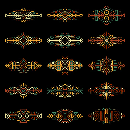 Collection of hand drawn borders in ethnic style. Illustration