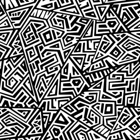 Creative Ethnic Style Square Seamless Pattern. 일러스트