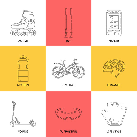 Set of vector outline icons with bicycle and accessories. Illustration