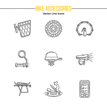 Set of vector outline icons with bicycle and accessories. Editable stroke design elements. Perfect for bike rental, store or repair business. Stock Illustratie
