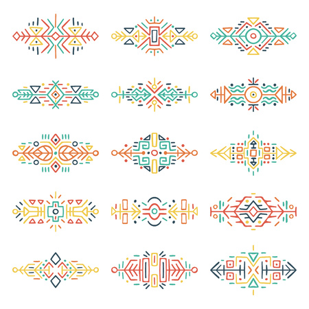Collection of Hand Drawn Borders in Ethnic Style. Aztec art dividers. Trendy boho separators. Tattoo design.