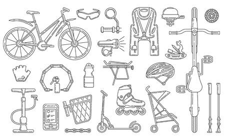 Insieme di elementi di progettazione di vettore di tema della bicicletta. Illustrazione del tratto modificabile. Accessori di stile di vita attivo isolati su sfondo bianco. Vettoriali