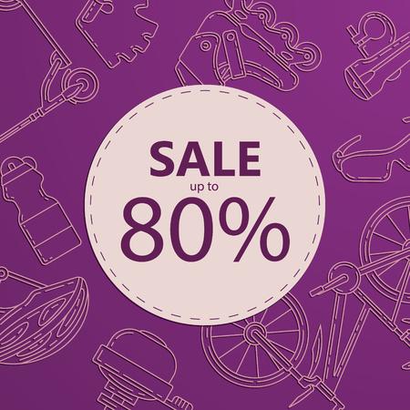 Conception de bannière publicitaire pour la vente de vélos. Fond carré promotionnel de mode de vie actif. Parfait pour la remise, la vente saisonnière, la conception d'offres spéciales.