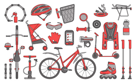 Insieme di elementi di progettazione di vettore di tema della bicicletta.