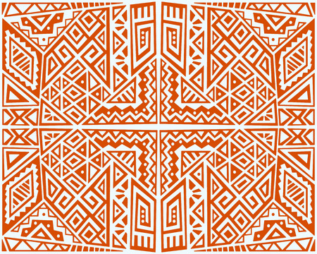 Creative Ethnic Style Square Seamless Pattern. Unique geometric   Trendy boho tile Vector illustration.