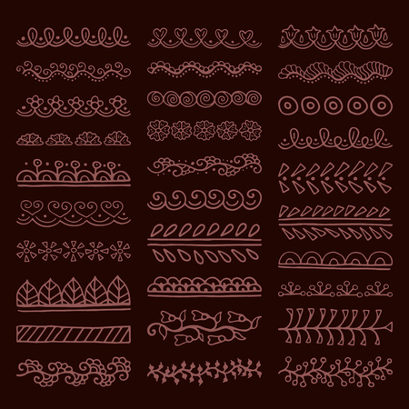 Mehndi style vector dividers. Set of creative hand drawn borders for your blog post decoration. Decorative lines for indian restaurant menu design. Perfect for your business.