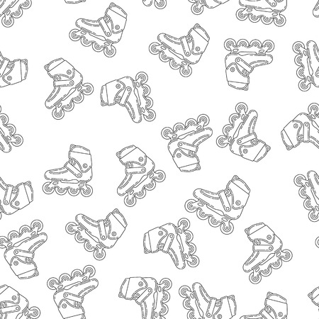 Vector seamless pattern with roller skates. Perfect for site backdrop, screen background, surface design and other endless fill.