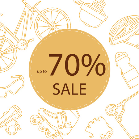 Advertising banner design for bicycle sale. Active lifestyle promotional square background. Perfect for discount, seasonal sale, special offer design. Illustration
