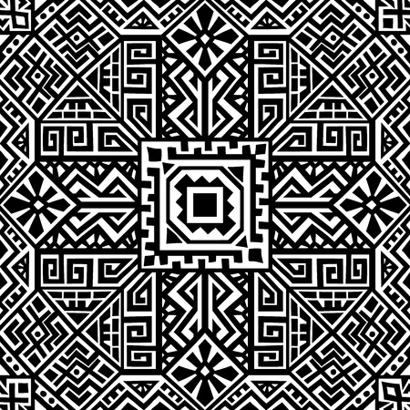 Simmetric seamless pattern in ethnic style. Tribal geometric ornament, perfect for textile design, site background, wrapping paper and other endless fill. Trendy boho tile. Banco de Imagens - 107064574