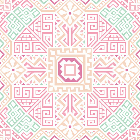 Simmetric seamless pattern in ethnic style. Tribal geometric ornament, perfect for textile design, site background, wrapping paper and other endless fill. Trendy boho tile.