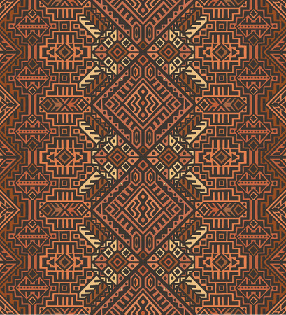 Simmetric seamless pattern in ethnic style. Tribal geometric ornament, perfect for textile design, site background, wrapping paper and other endless fill. Trendy boho tile. Banco de Imagens - 111793811