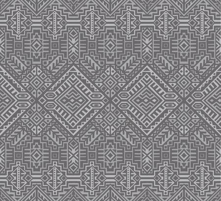 Simmetrisches nahtloses Muster im ethnischen Stil. Stammes geometrische Verzierung, perfekt für Textildesign, Site-Hintergrund, Geschenkpapier und andere endlose Füllung. Trendy Boho Fliese.