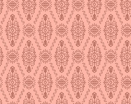 Modèle sans couture de vecteur dans un style ethnique. Ornement sans fin tribal créatif, parfait pour la conception textile, le papier d'emballage, le papier peint ou l'arrière-plan du site. Tuile boho dessinée à la main. Vecteurs