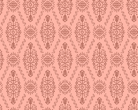 Vector Seamless Pattern in Ethnic Style. Creative tribal endless ornament, perfect for textile design, wrapping paper, wallpaper or site background. Trendy hand drawn boho tile. Ilustração Vetorial