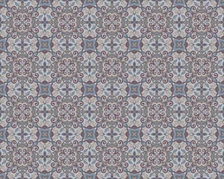Ethnic style seamless pattern. Azulejo ceramic tile design. Zellige ornament. Talavera tracery motif. Portuguese, Spanish, Mexican, Brazilian folk print Standard-Bild - 125830903