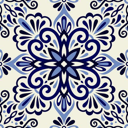 Ethnic style seamless pattern. Azulejo ceramic tile design. Zellige ornament. Talavera tracery motif. Portuguese, Spanish, Mexican, Brazilian folk print Standard-Bild - 125830904