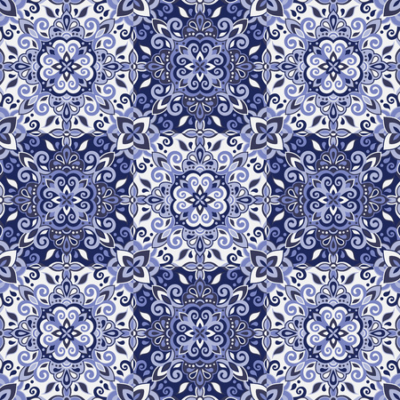 Ethnic style seamless pattern. Azulejo ceramic tile design. Zellige ornament. Talavera tracery motif. Portuguese, Spanish, Mexican, Brazilian folk print Standard-Bild - 125830905