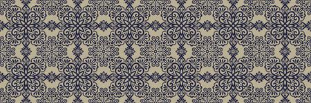 Ethnic style seamless pattern. Azulejo ceramic tile design. Zellige ornament. Talavera tracery motif. Portuguese, Spanish, Mexican, Brazilian folk print Standard-Bild - 125830906