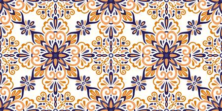 Ethnic style seamless pattern. Azulejo ceramic tile design. Zellige ornament. Talavera tracery motif. Portuguese, Spanish, Mexican, Brazilian folk print Standard-Bild - 125830908