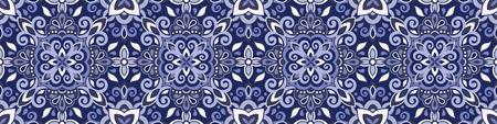 Ethnic style seamless pattern. Azulejo ceramic tile design. Zellige ornament. Talavera tracery motif. Portuguese, Spanish, Mexican, Brazilian folk print Çizim