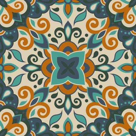Ethnic style seamless pattern. Azulejo ceramic tile design. Zellige ornament. Talavera tracery motif. Portuguese, Spanish, Mexican, Brazilian folk print Standard-Bild - 125577581