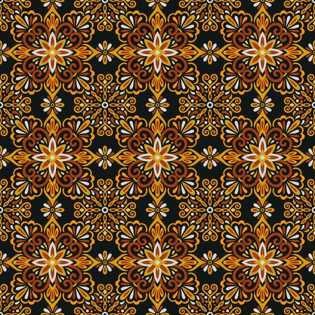 Ethnic style seamless pattern. Azulejo ceramic tile design. Zellige ornament. Talavera tracery motif. Portuguese, Spanish, Mexican, Brazilian folk print Ilustração