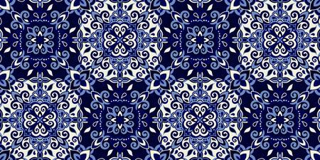 Ethnic style seamless pattern. Azulejo ceramic tile design. Zellige ornament. Talavera tracery motif. Portuguese, Spanish, Mexican, Brazilian folk print Standard-Bild - 125482160