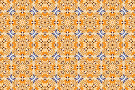 Ethnic style seamless pattern. Azulejo ceramic tile design. Zellige ornament. Talavera tracery motif. Portuguese, Spanish, Mexican, Brazilian folk print Standard-Bild - 125310907