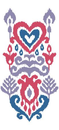 Ethnic vector illustration. Ikat textile stylized. Eastern embroidery tile. Indian Scandinavian Mexican Pakistan woven ornament. Ilustração