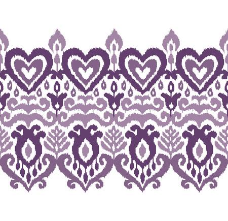 Ikat textile stylized seamless stripe pattern. Eastern embroidery tile. Indian Scandinavian Mexican Pakistan woven ornament. Standard-Bild - 125278973