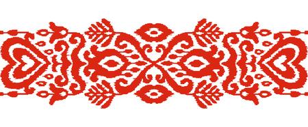 Ikat textile stylized seamless stripe pattern. Eastern embroidery tile. Indian Scandinavian Mexican Pakistan woven ornament.