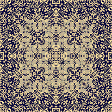 Ethnic style seamless pattern. Azulejo ceramic tile design. Zellige ornament. Talavera tracery motif. Portuguese, Spanish, Mexican, Brazilian folk print  イラスト・ベクター素材