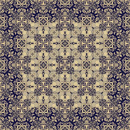 Ethnic style seamless pattern. Azulejo ceramic tile design. Zellige ornament. Talavera tracery motif. Portuguese, Spanish, Mexican, Brazilian folk print Illustration