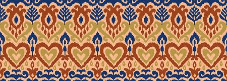 Ethnische Vektor nahtlose Muster. Ikat-Textil stilisiert. Ost-Stickerei-Fliese. Indisches skandinavisches mexikanisches Pakistan gewebtes Ornament.