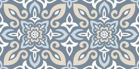 Ethnic style vector seamless pattern. Azulejos ceramic tile design. Talavera tracery motif. Portuguese, Spanish, Mexican, Brazilian folklore ornament. Standard-Bild - 124561688