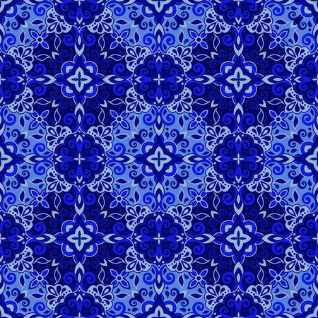 Ethnic style seamless pattern. Azulejo ceramic tile design. Zellige ornament. Talavera tracery motif. Portuguese, Spanish, Mexican, Brazilian folk print Standard-Bild - 124514254