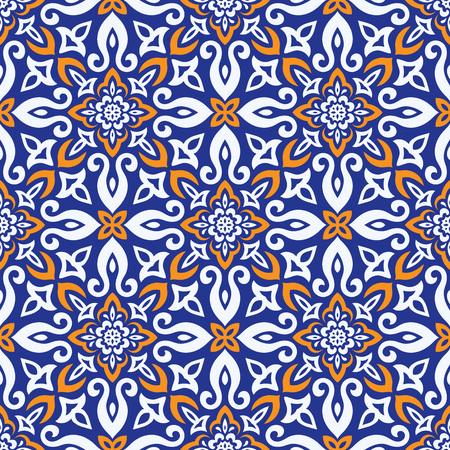 Modello senza cuciture di vettore di stile etnico. Design di piastrelle di ceramica Azulejos. Motivo a trafori Talavera. Ornamento folkloristico portoghese, spagnolo, messicano, brasiliano.