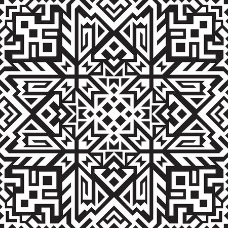 Abstraktes geometrisches nahtloses Muster. Einzigartiges skandinavisches Design. Hintergrund im ethnischen Stil wiederholen. Kreative Stammes-Vektorverzierung. Trendige Kunstfliese. Vektorgrafik