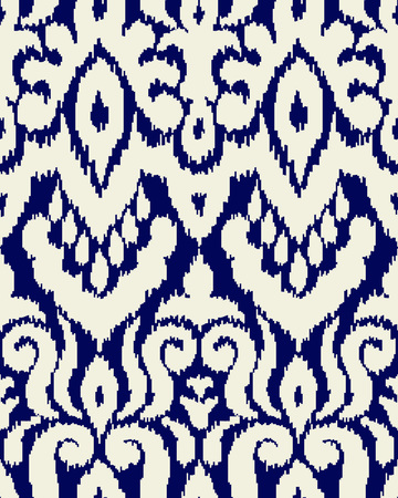 Ethnic style seamless pattern with ikat stylized ornament. Traditional ornamental textile design. Folklore handicraft repeating background. Ilustração