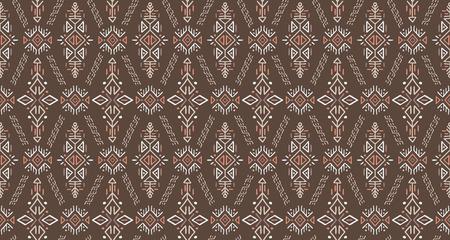 Modèle sans couture de vecteur dans un style ethnique. Tuile boho dessinée à la main à la mode. Ornement tribal sans fin créatif, parfait pour la conception textile, le papier d'emballage, le papier peint ou l'arrière-plan du site. Vecteurs