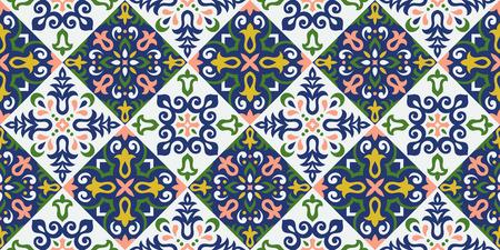 Patrón transparente de vector de estilo étnico. Diseño de azulejos de cerámica. Motivo de tracería de Talavera. Ornamento del folclore portugués, español, mexicano, brasileño. Ilustración de vector